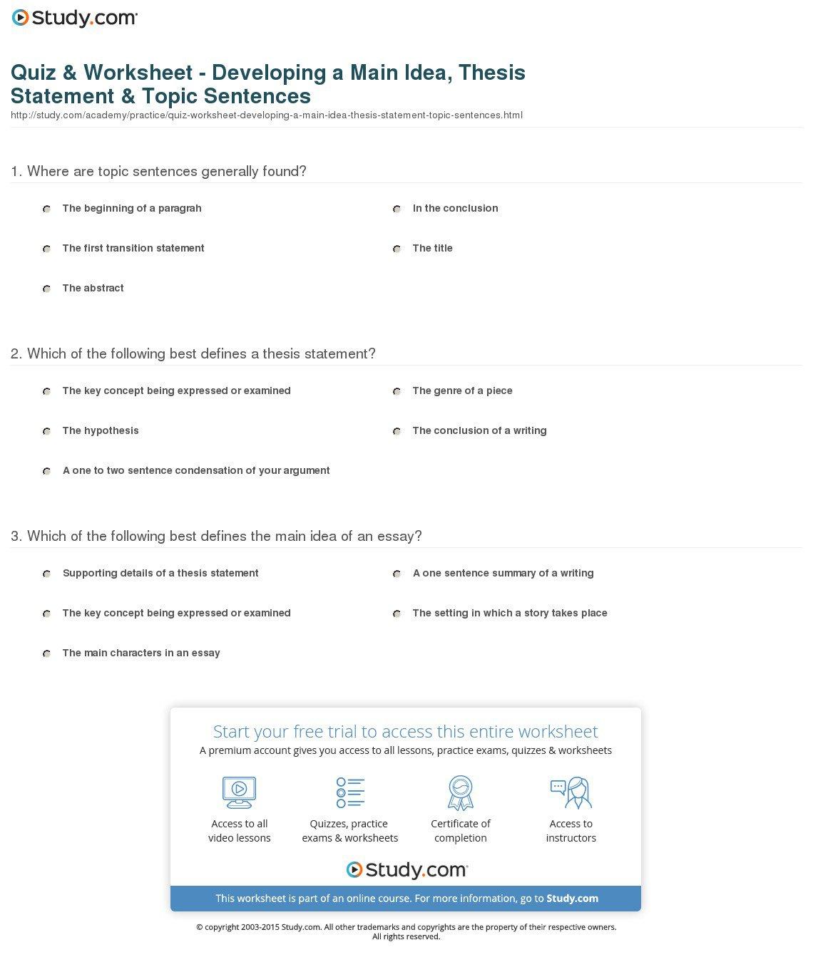 Thesis Best Statement Quiz Worksheet Developing Main Idea Topic