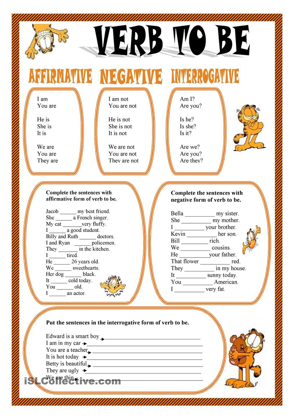 To Be Verb Worksheets 17716