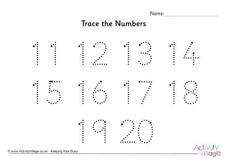 Trace The Numbers 11 To 20 Dotted