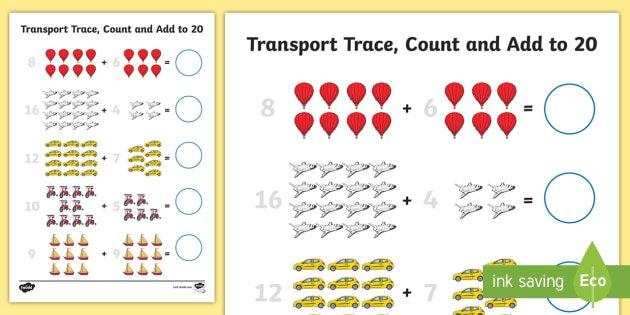Transport Trace Count And Add To 20 Worksheet
