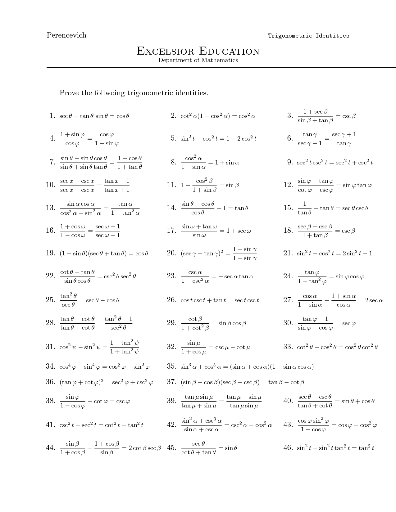 Trig Identities Worksheet Expandingme Co Trigonometric