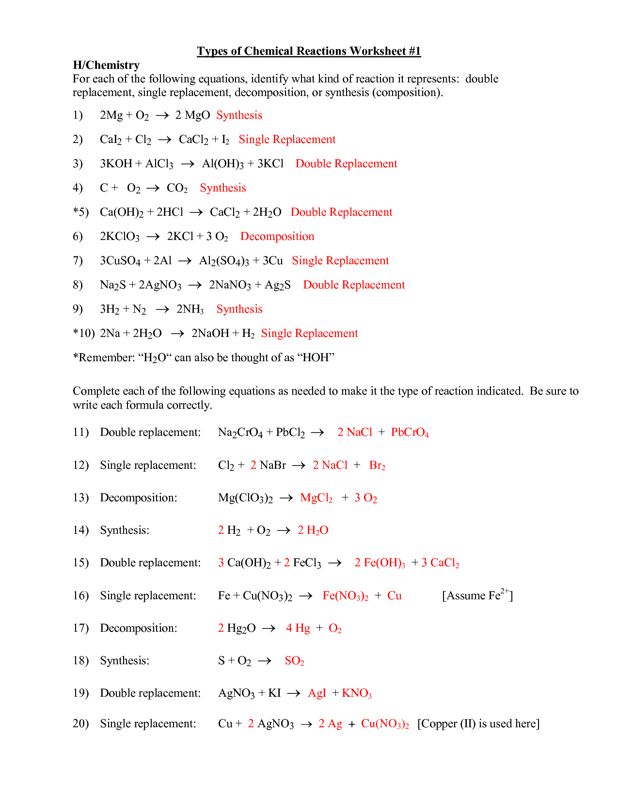 Types Of Chemical Reactions Worksheet Answers Com