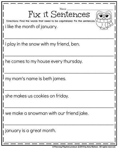 Ultimate Editing Sentences Worksheets For First Grade With