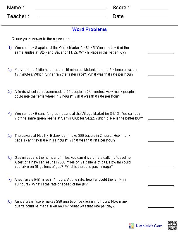 Unit Rate Worksheets 7th Grade The Best Worksheets Image