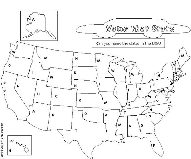 United States Of America Name The State Worksheet The Best
