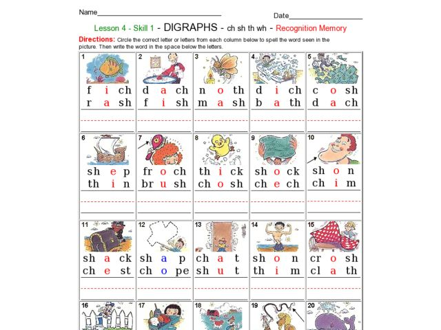 Useful Blends And Digraphs Worksheets For Third Grade In Digraphs