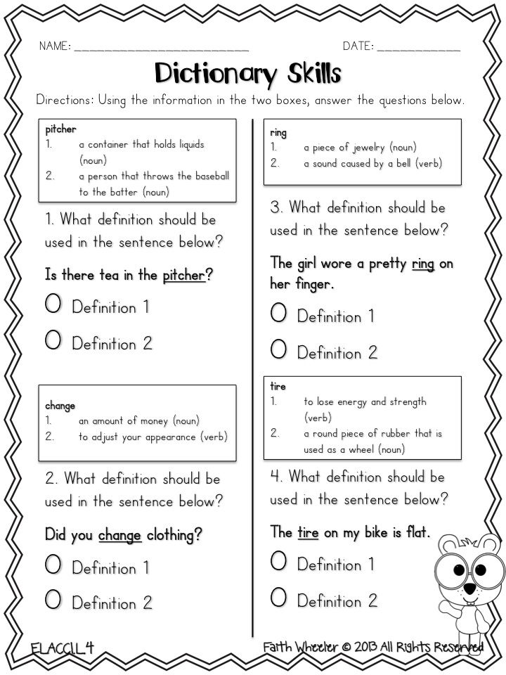 Using A Dictionary Worksheet For 2nd Grade