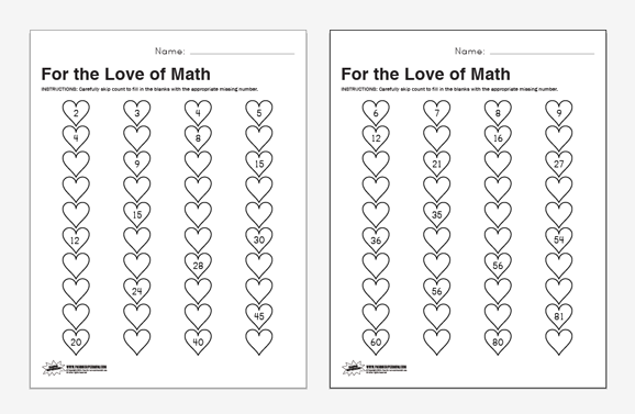Valentine Math Worksheets Free Valentines Skip Count Math