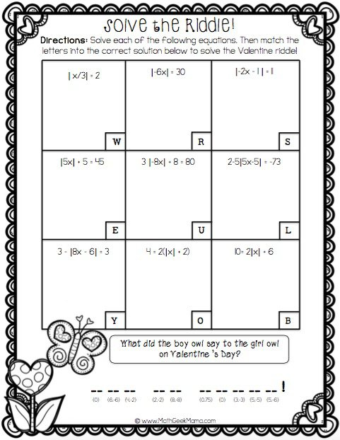Valentine's Day Algebra Practice Pack! {free!}