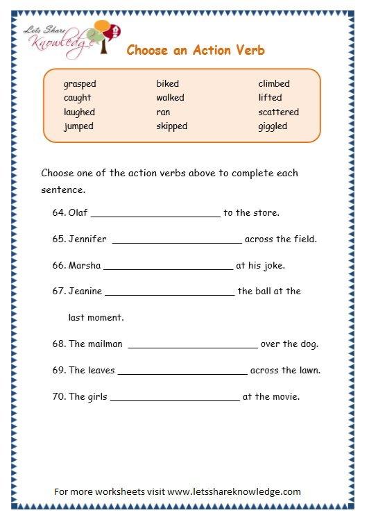 Verbs Worksheets Grade 3 Grammar Topic 2 Action Verbs Worksheets
