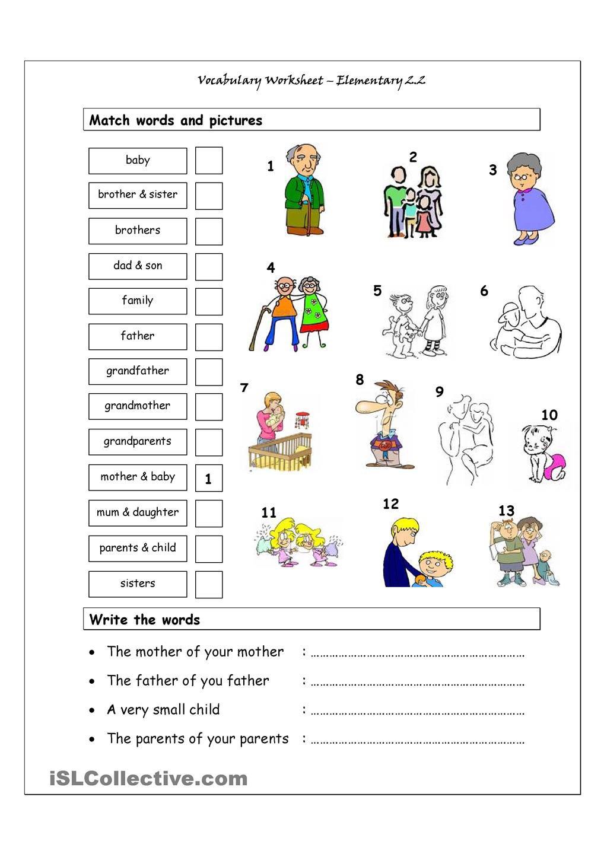 Vocabulary Matching Worksheet Elementary 2 Family English My