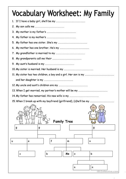 Vocabulary Worksheets Vocabulary Worksheet My Family Medium