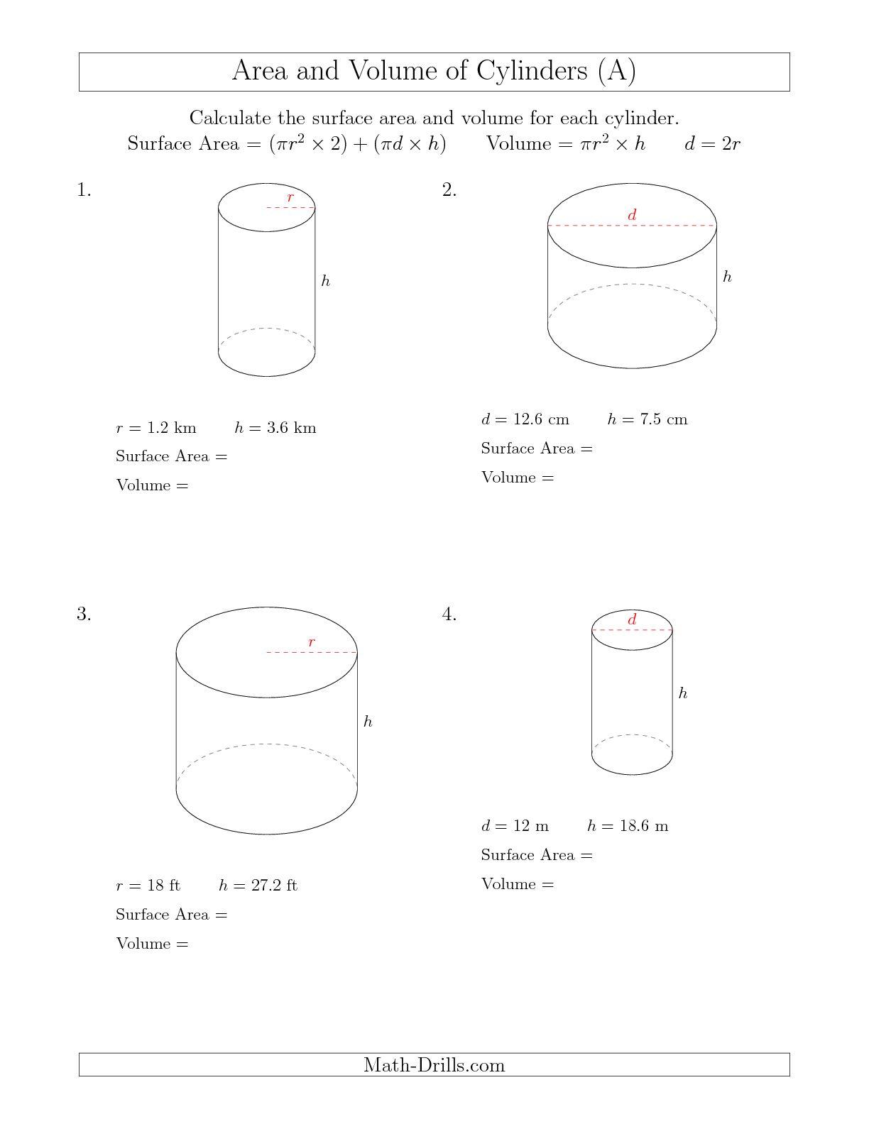 Volume Of A Cylinder Worksheets The Best Worksheets Image