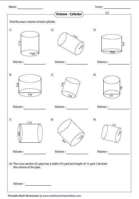 Volume Of Cylinder Worksheet