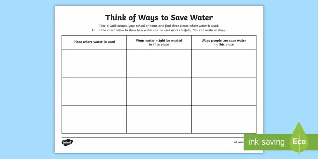 Ways To Save Water Worksheet   Activity Sheet