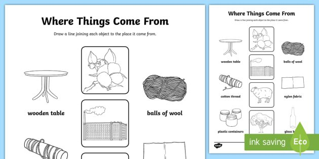 Where Things Come From Worksheet