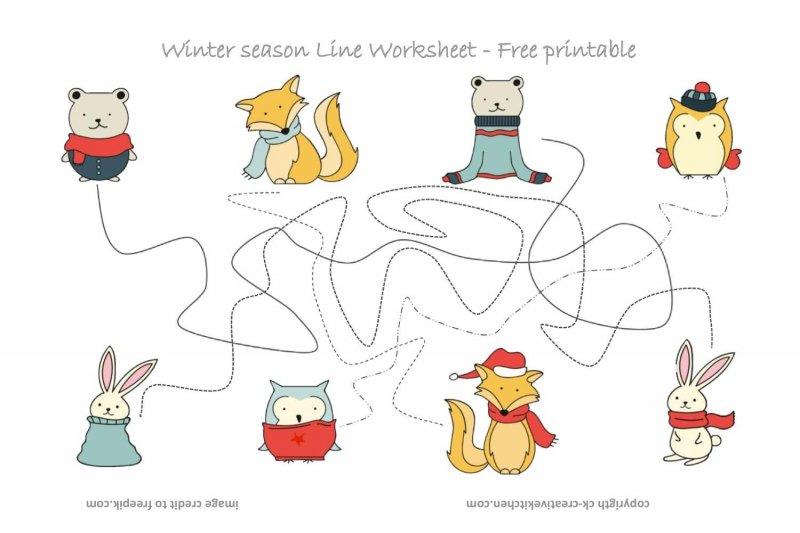 Winter Forest Animals Line Worksheet