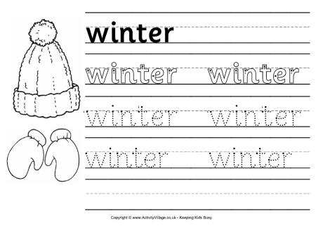 Winter Worksheets Winter Handwriting Worksheet 2 Free