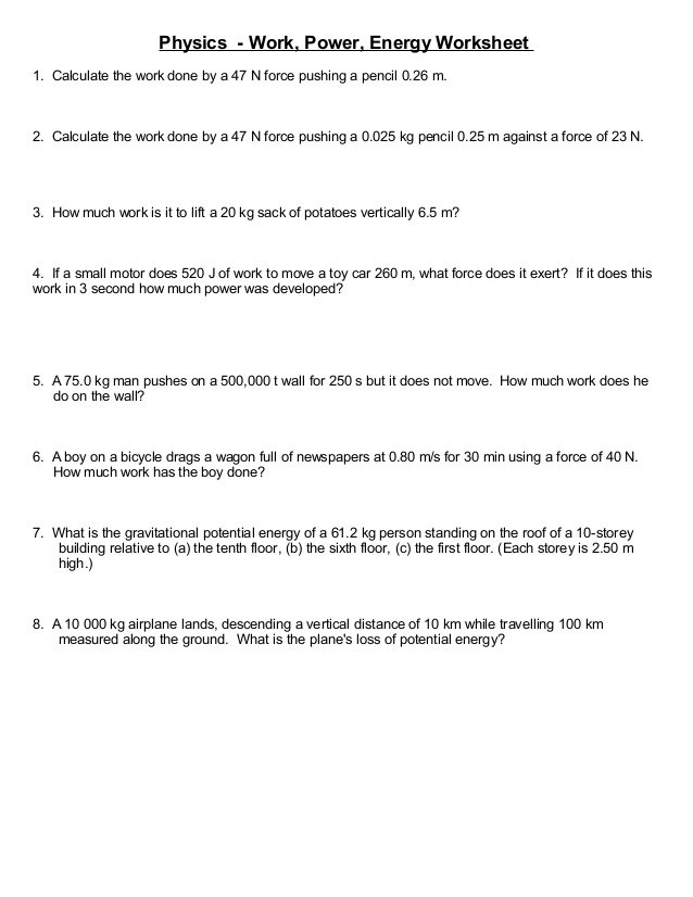 Work And Power Practice Problems Worksheet
