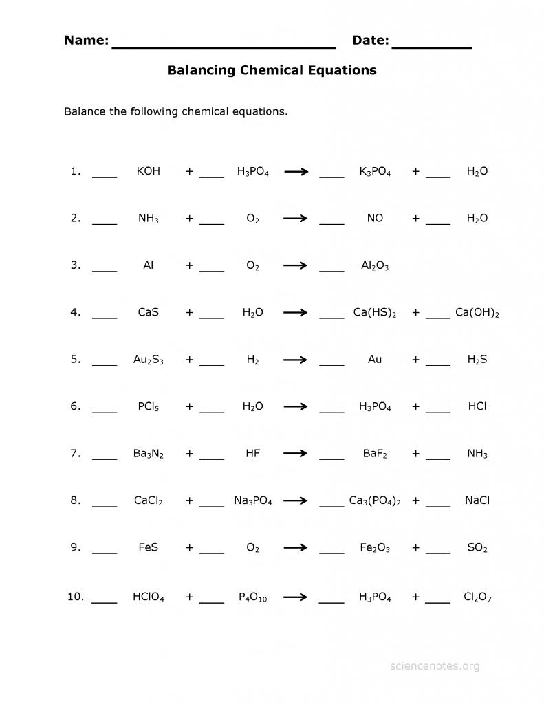 Worksheet 2 7 Balancing Equations Answers