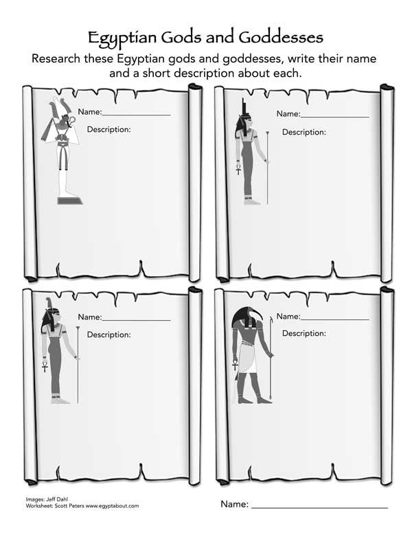 Worksheet  Egyptian Gods & Goddesses