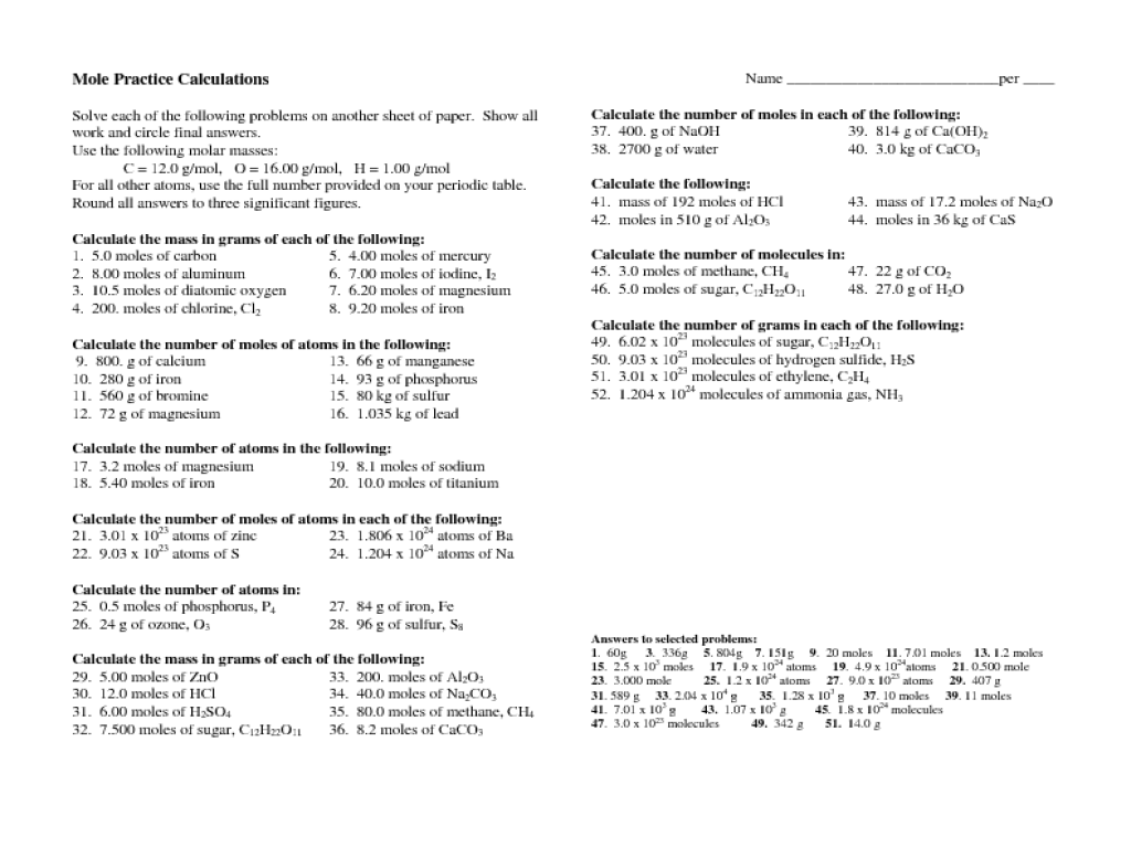 Worksheet Mole Conversions The Best Worksheets Image Collection