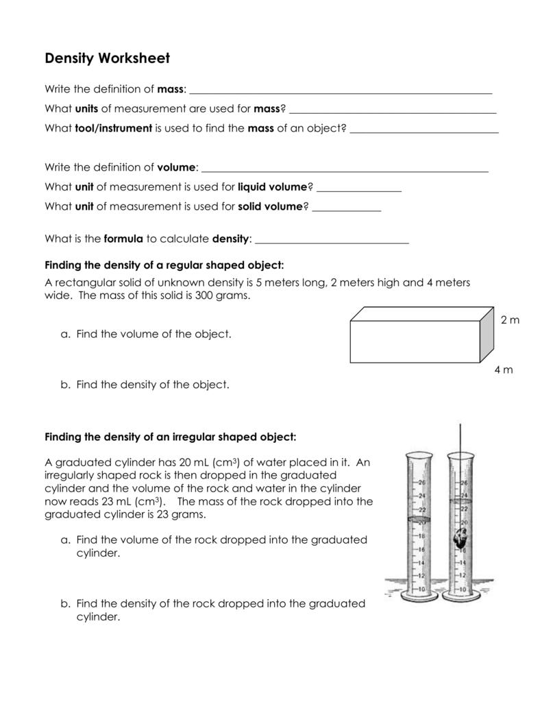 Worksheet On Density