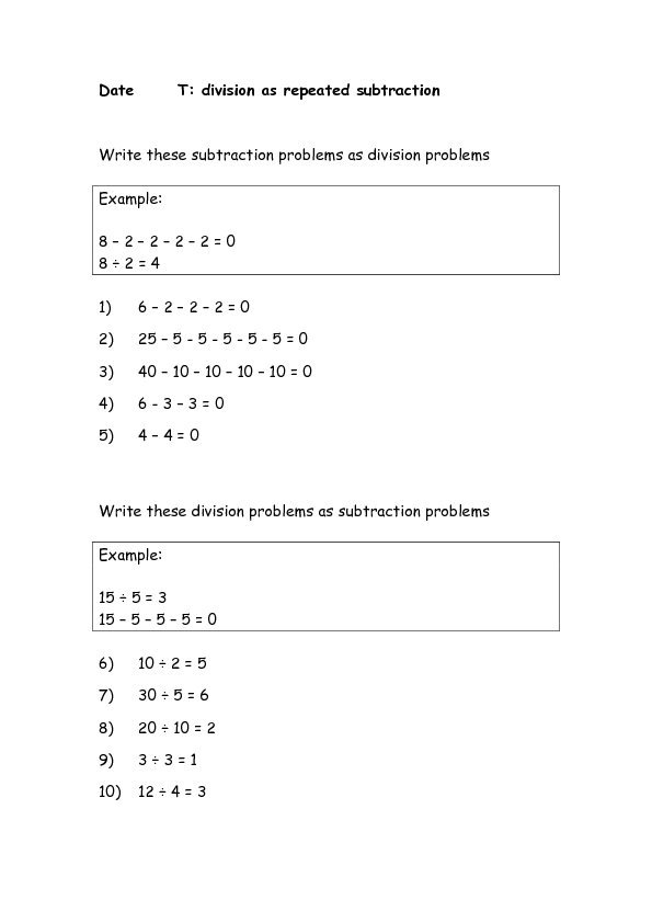 Worksheet On Division As Repeated Subtraction
