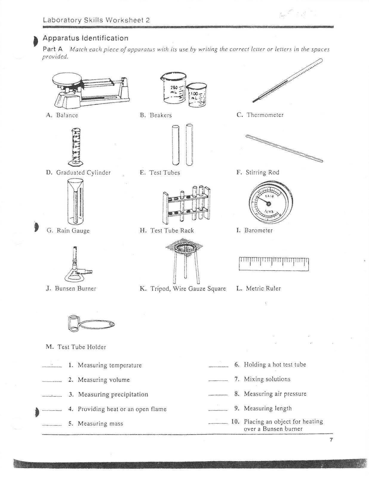 Worksheet Science Lab Equipment 418861