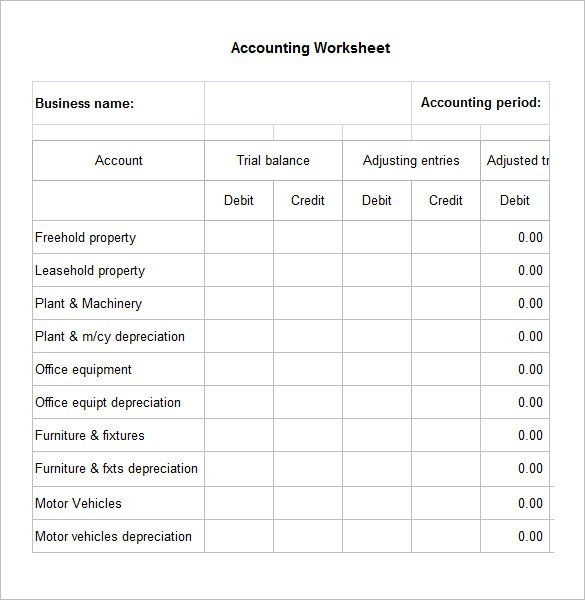 Worksheet Templates Free 5 Accounting Worksheet Templates Free