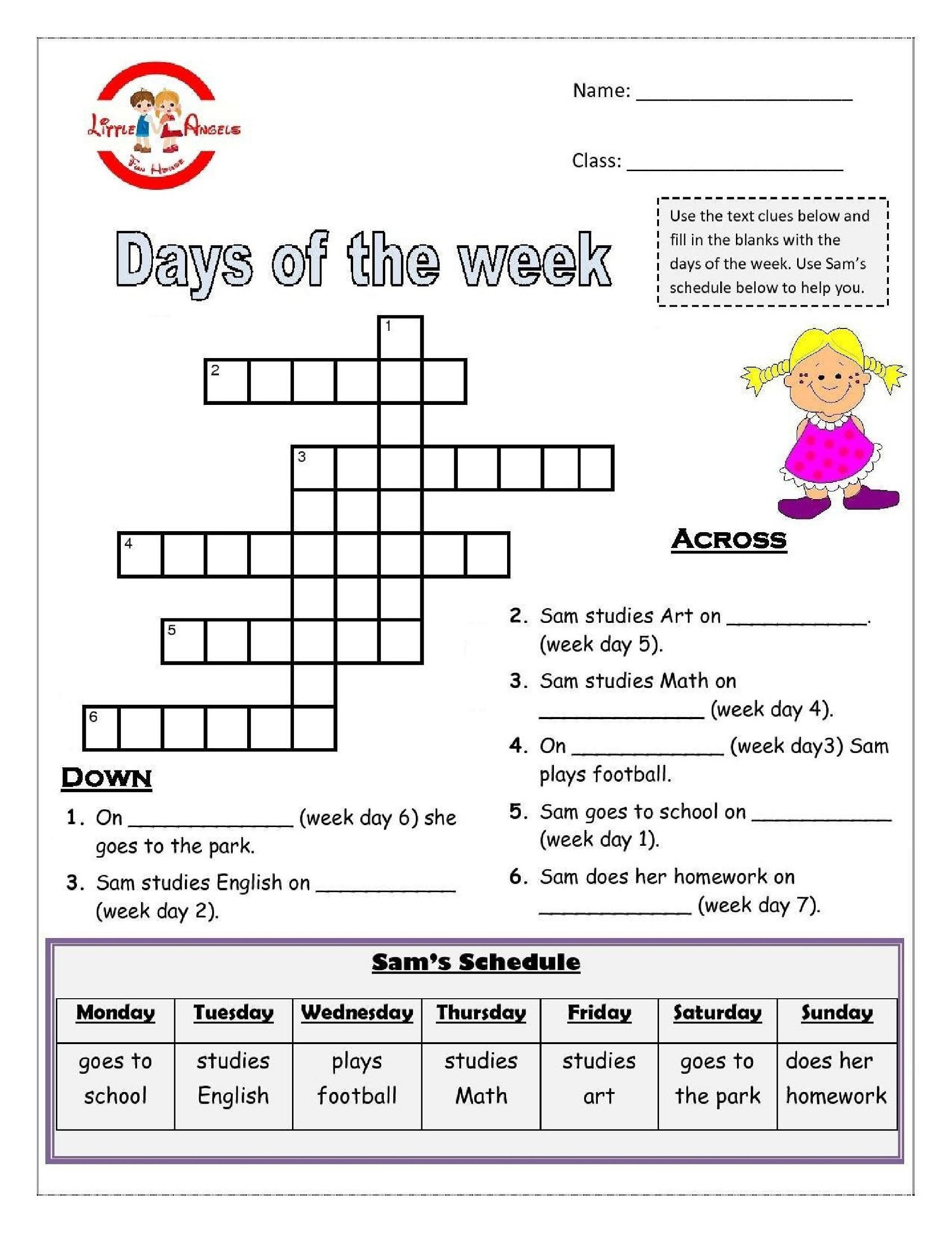 Worksheets Days Of The Week The Best Worksheets Image Collection