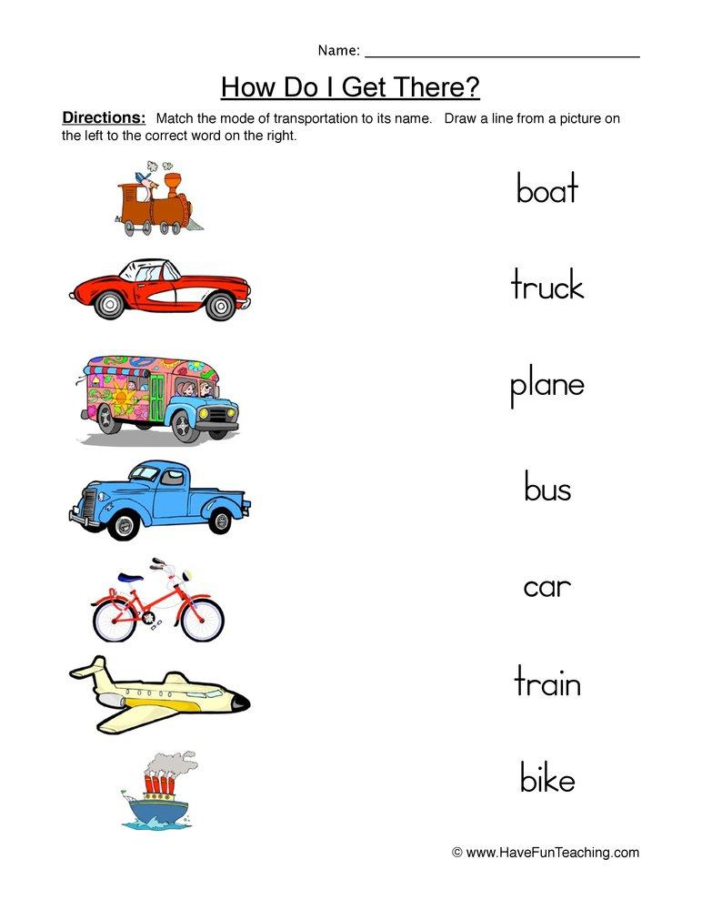 Worksheets Of Transportation