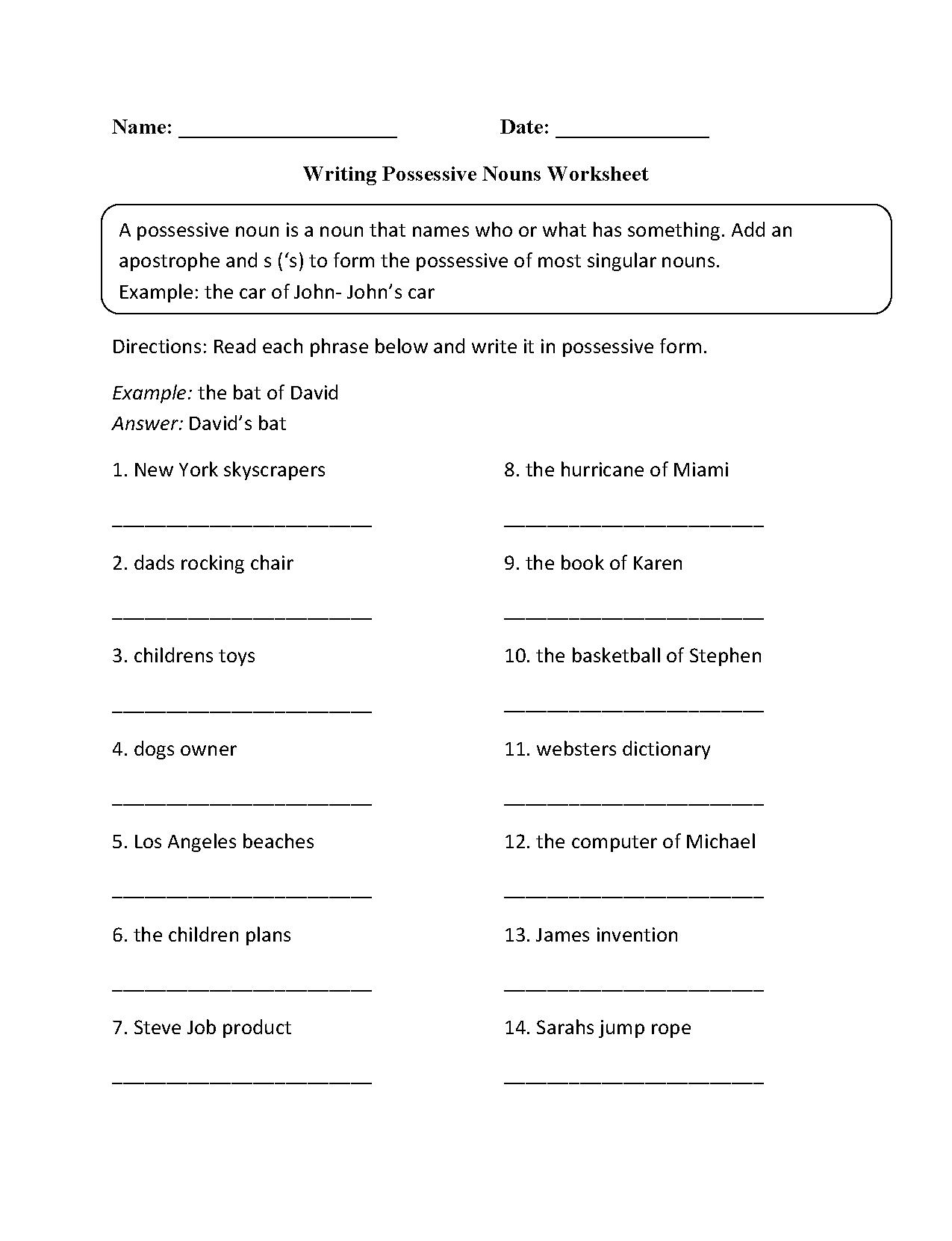 Worksheets On Possessive Nouns The Best Worksheets Image