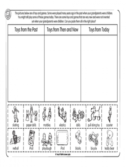 Worksheets Toys Past Present