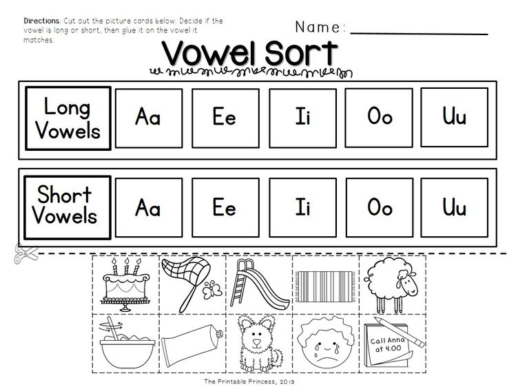 Worksheets With Vowels For Kindergarten