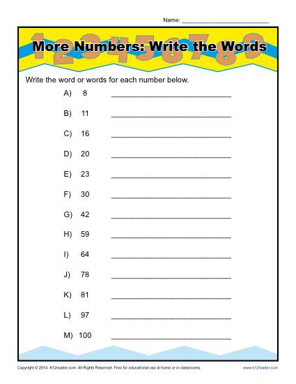 Write The Words That Spell The Numbers Worksheet Activity