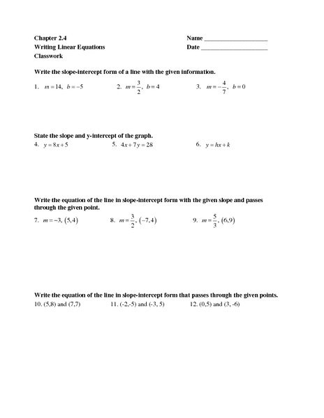 Writing Linear Equations Worksheet Writing Linear Equations