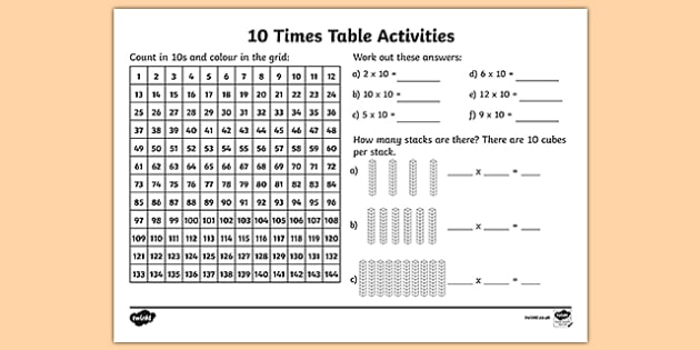 10 Times Table Worksheet   Activity Sheet