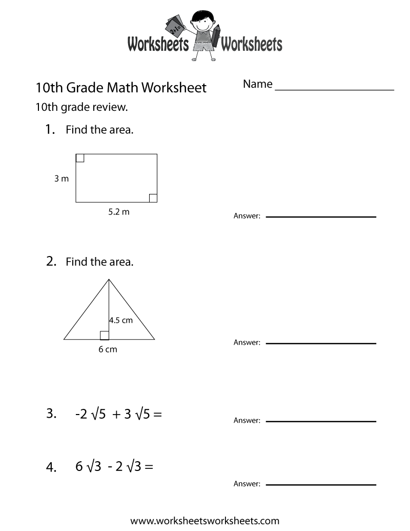 10th Grade Math Worksheets Printable The Best Worksheets Image