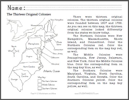 13 Colonies Worksheet Pdf Thirteen Original Colonies Map Primary