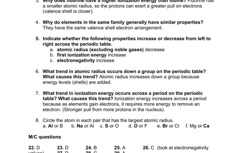 Electronegativity Worksheets With Answers