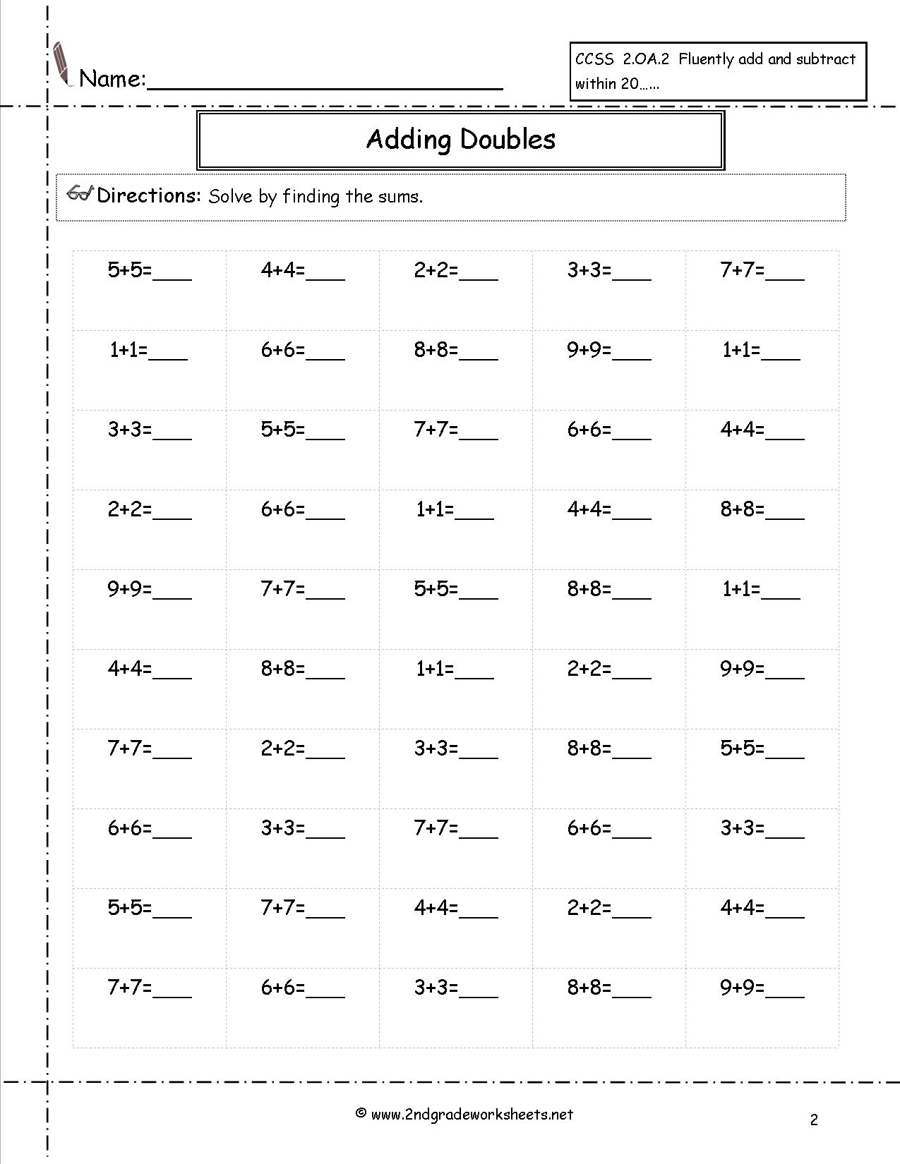 2nd Grade Math Worksheets 2 Digit Subtraction The Best Worksheets