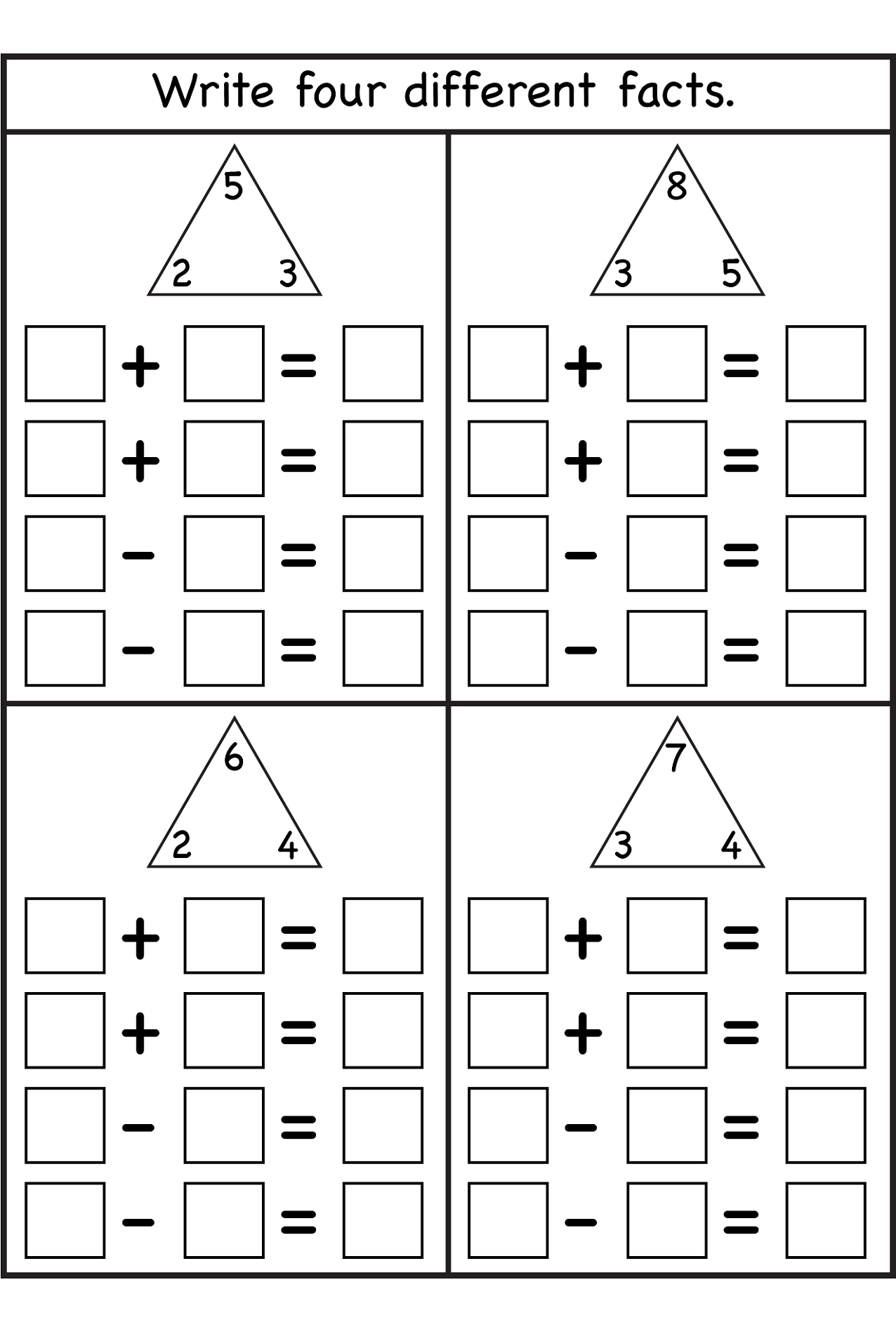 2nd Grade Math Worksheets Fact Families 495207