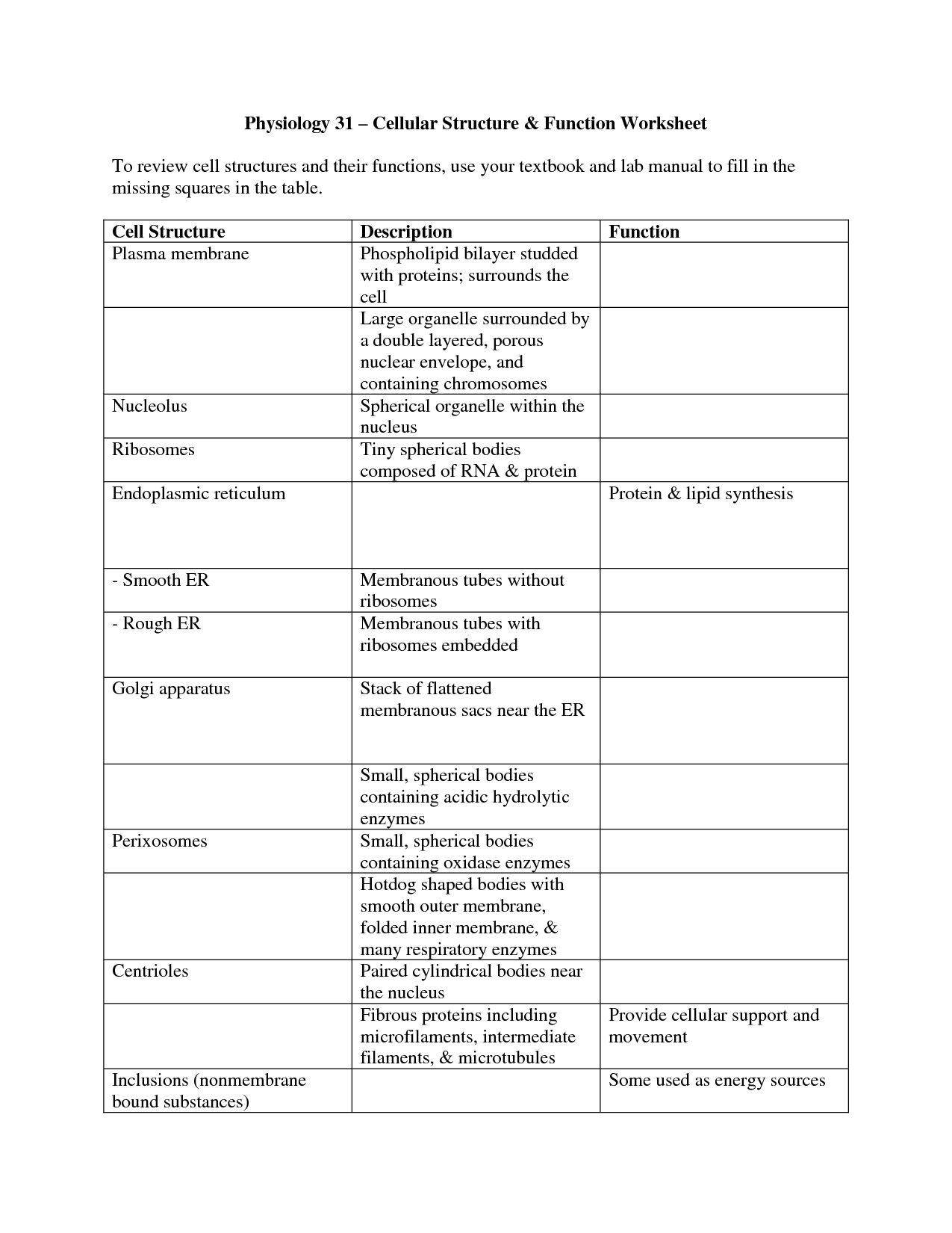 32 Cell Worksheets, Cell Organelle Worksheet Abitlikethis