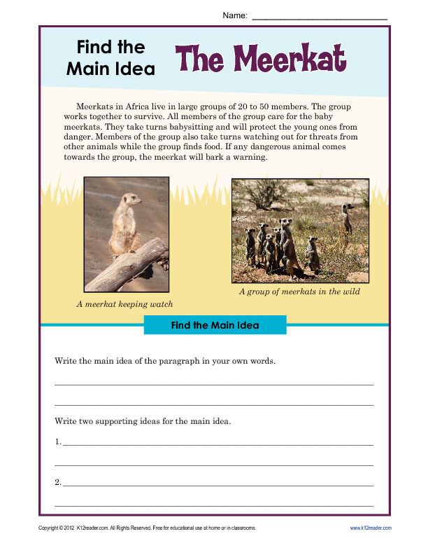 34 Main Idea And Supporting Details Worksheet, Main Idea Details