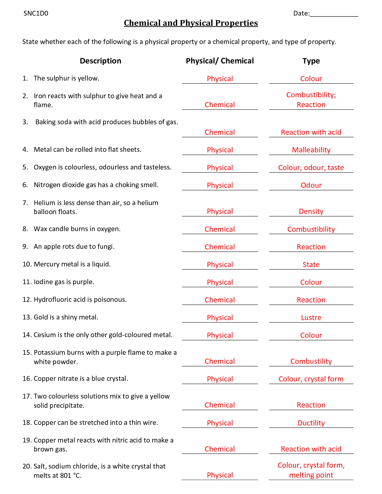 39 Physical And Chemical Properties And Changes Worksheet Answers