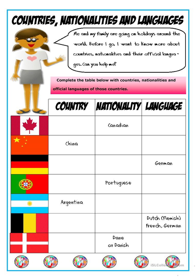 42 Free Esl Languages Worksheets
