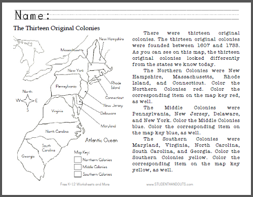 43 13 Colonies Map Worksheet, Search Results For 13 Colonies And