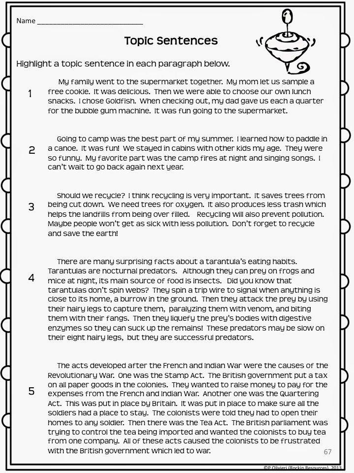 46 Unique Paragraph Topic Sentence Worksheet – Free Worksheets