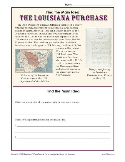 5th Grade Main Idea Worksheet About The Louisiana Purchase